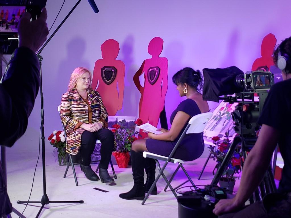 Roxanne Carter-Thompson and Debbie Langston in studio